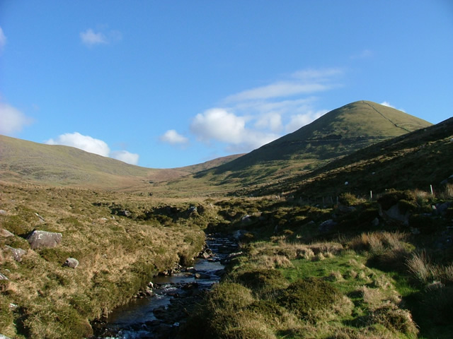 View toward the Connor Pass on the Dingle Way.