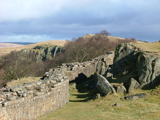 Photograph of Hadrian's Wall as it hugs the crags on this wonderful walking holiday across Northumberland