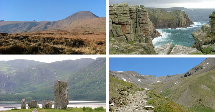 The Dingle Way (Ireland), The Cornish Coastal Path (England), The Beara Way (Ireland) and the Pyrenees (Andorra, Spain and France)- all images from Trek-Inn walking holidays