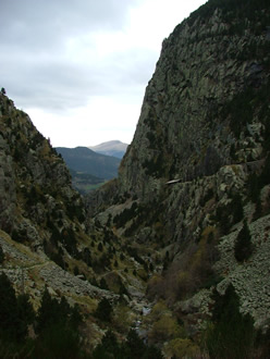 Looking back down from Vall de Nuria toward Queralbs Nov 2005