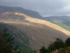 Along the side of the Glenmalure valley.