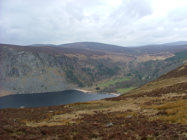 Looking down on Lough Dan on a walking holiday along the Wicklow Way